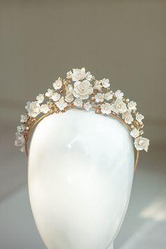 Gold Bridal Earrings, White Earrings, Statement Earrings, Flower Tiara, Flower Crown, Bridal Comb, Bridal Headpieces, Enchanted Bridal, Bride Tiara