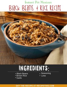 Delicious brown rice loaded with black beans, spicy Mexican flavours and perfect if you want a healthy and frugal lunch or dinner. Today's Instant Pot Mexican… Mexican Black Beans And Rice Recipe, Rice And Beans Recipe, Tailgating Recipes, Tailgate Food, Rice Recipes, Dinner Recipes, Football Food, World Recipes, Quotes