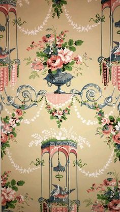 "Bailey & Griffin ""Cable Doves Diamante"" Louis XVI vintage hand printed wallpaper"