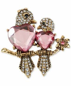 Betsey Johnson Antique Gold-Tone Crystal Love Bird Pin. the original twitters. tweet..tweet right to your heart.