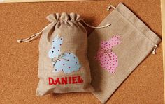 Personalised Easter bag egg hunting jute by LovelyPerfectStyle