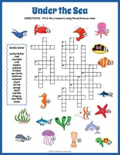 Under The Sea Crossword Puzzle