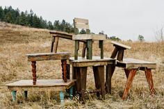 Pallet furniture - coffee table/kids table with brightly colored legs