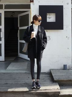 .Love: oversized upper coat with a slimming trousers, sport vibe added with trainers to more classy look.  #basics