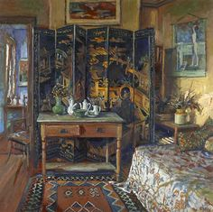 Margaret Olley (Australian painter) Chinese screen and yellow room 1996 via Illusions Australian Painting, Australian Artists, Illustrations, Beautiful Paintings, Bunt, Painting & Drawing, Decoration, Art Gallery, My Arts