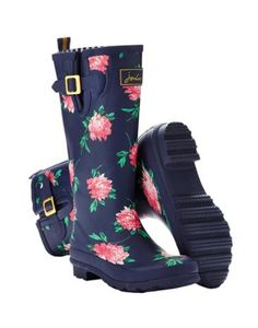 Joules Women's Printed Wellies, French Navy Peony.