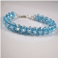 Aqua Crystal Beaded Bracelet by ChainedByLightness on Etsy, $48.00