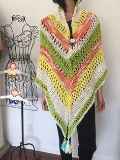 Hand Knits 2 Love Triangle Cotton Shawl Tassels Designer Fashion Spring Summer  #HandKnits2Love #ShawlWrap