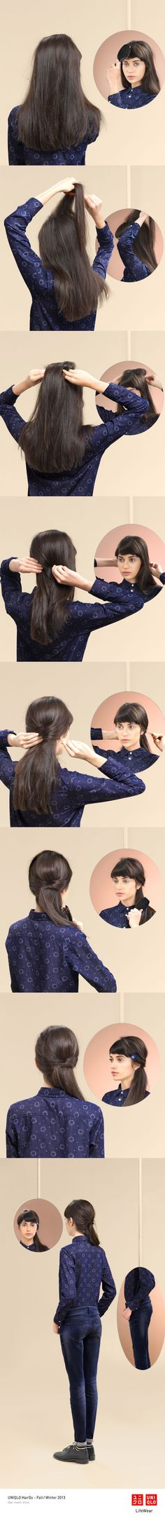 The Low Down - A quick and easy style, great with a pair of jeans for a day outside. #Twist #Hair #Hairstyle #DIY #Uniqlo