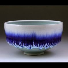 Serving Bowl with #Chün, #Celadon and #Cobalt. #Porcelain, Cone 12 heavy reduction. | Alex Thullen