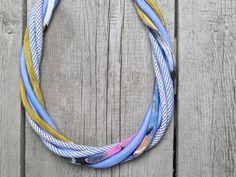 FABRIC necklace statement necklace  textile jewelry by Zojanka