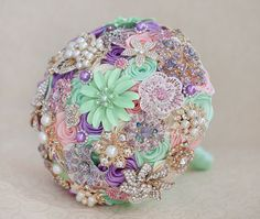 Brooch bouquet. Mint Pink Lilac and Ivory by MagnoliaHandmade, $200.00