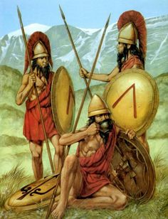 A Lakedaemonian officer (l) and hoplites, during a lull in the fighting, Battle of Mantineia, c 418 BCE.  All are wearing a crimson exomis; the officer has a transverse crest upon his pilos helm. The Battle of Mantinea was a significant engagement in the Peloponnesian War. Sparta and its allies defeated an army led by Argos and Athens. http://www.livius.org/pb-pem/peloponnesian_war/war_t13.html Art by Richard Hook
