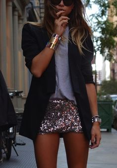 sequin mini. grey tee. black blazer.