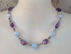 """New Genuine Aquamarine Gemstone Amethyst Stone Dreamy Purple Silver Necklace 17"""" #necklace #gemstone #amethyst #aquamarine"""