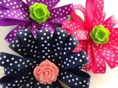 summer polka dot dog collar flower slide on by myladyalice on Etsy