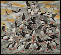 Puffins by artist Shirley Kelly.  2015 exhibit, National Quilt Museum