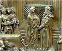 Solomon Meets the Queen of Sheba (detail), Florence Baptistery, Lorenzo Ghiberti ca. 1420-30.