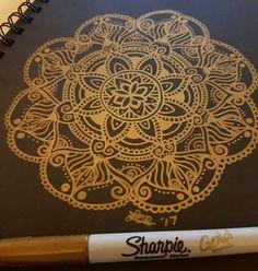Gold mandala  #josmithcreative #gigglydesign #mandala #mandalaart #mandaladesign #goldmandala #gold #sharpie #blackandgold #beautiful_mandalas #mandalasworld #dailydrawing #dailymandala #zendoodle #zentangle #art #drawing #illustration #design Mandala Design, Mandala Art, Gold Sharpie, Daily Drawing, Zen Doodle, Zentangle, Camper, Drawings, Creative