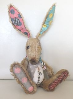 """""""Mr Jinx"""" the Mad March Hare. Made from luxury soft mohair and aged cotton with a soft furry tummy. Has wired ears, odd eyes and he wears a tie, by Ragtail n Tickle"""