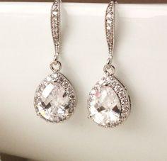 Crystal Wedding Jewelry Bridesmaid Gift Earrings Bridal Earrings Clear white Lux teardrop cubic zirconia Earrings Bridal party gift