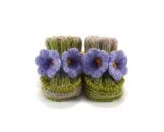Hand Knitted Baby Booties With Crochet Bell Flowers, 0 - 6 Months from Picsity.com