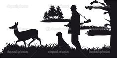 Hunter with dog hunting animals in the forest - black and white ...
