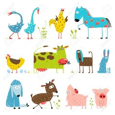 brightly colored fun cartoon farm domestic animals collection for kids. countryside amusing vivid cottage baby animals illustration for children. Forest Illustration, Love Illustration, Free Rabbits, Sea Drawing, Animal Activities For Kids, Funny Animals With Captions, Farm Pictures, Kids Vector, Animal Sketches