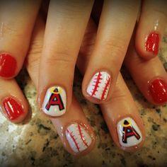 Nail art! Baseball Nail Designs, Baseball Nail Art, Baseball Quotes, Fancy Nails, Cute Nails, Pretty Nails, Angels Baseball, Baseball Boys, Baseball Birthday