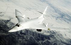 The Tupolev Tu-160 is a supersonic, variable-sweep wing heavy strategic bomber designed in the Soviet Union. Tu-160 is currently the world's largest combat aircraft, largest supersonic aircraft, and largest variable-sweep aircraft built. In addition, the Tu-160 has the heaviest takeoff weight of any military aircraft besides transports. Designed in 1981 and still in production. It was the last strategic bomber designed for the Soviet Union. It can carry 40.000 Kg at 2.220 Km/h.