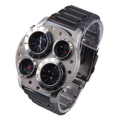 Stainless Steel Dual Time Compass Thermometer Quartz Watch Quartz Watch Preferred of Travel J1145