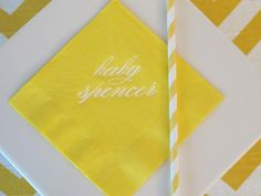personalized cocktail napkins with the baby's name-- love this idea