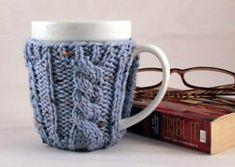 Spa Blue Fleck Hand Knit Cable Rib Coffee Mug Cozy Coaster Mug Cozy, Coffee Cozy, My Coffee, Coffee Mugs, Hot Toddy, Secret Santa, Stocking Stuffers, Hot Chocolate, Cable Knit