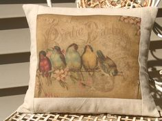 Rainbow of French Birds Postcard Bird Pillow by sherrisboutique, $23.00    I LOVE PILLOWS, CAN YOU TELL!!!!