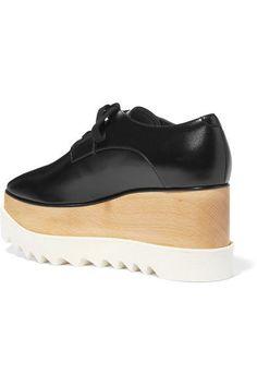 c4d4c0f94fc Stella McCartney - Elyse Faux Glossed-leather Platform Brogues - Black