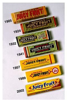 Juicy Fruit Packaging from to inspiration chewing gum from the storeroom @ POTW Retro Packaging, Packaging Box, Fruit Packaging, Packaging Design, Branding Design, Retro Candy, Vintage Candy, Vintage Menu, 80s Candy