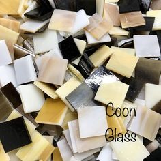 Neutral Colored Square Mosaic Glass Chips, Multi color Colored Tiles, 3/4 inch Glass Tiles, Stained Glass, Hand Cut, Opaque, Multicolored by CoonGlassandSupplies on Etsy