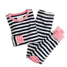 Crew for the Girls' stripe contrast-cuff sleep set. Find the best selection of Girls Sleepwear & Loungewear available in-stores and online. Baby Girl Pajamas, Girls Pajamas, Baby Boy Outfits, Kids Outfits, Cool Outfits, Toddler Fashion, Kids Fashion, Girls Sleepwear, Girls Shopping