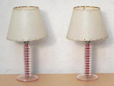 Pair Pink & Clear Atomic Dresser Lamps with Fiberglass Shades