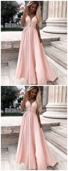 A-Line V-Neck Long Prom Dresses Formal Evening Gowns by Ai prom dresses, $114.93 USD Prom Dresses 2017, A Line Prom Dresses, Sexy Dresses, Beautiful Dresses, Formal Dresses, Perfect Fit, Custom Made, Evening Dresses, Party Dress