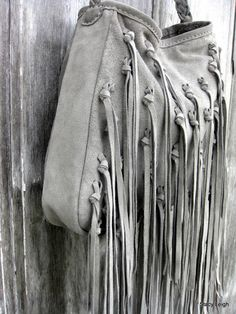 Bohemian Gray Leather Fringe Bag Reserved for Irene by Stacy Leigh