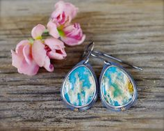 Regency rose plume agate earrings. Sterling silver regency plume agate and turquoise doublet earrings. Mixed metal silver and 14K gold.