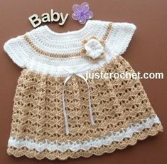 Free crochet pattern for baby girl dress http://www.justcrochet.com/angel-top-dress-usa.html