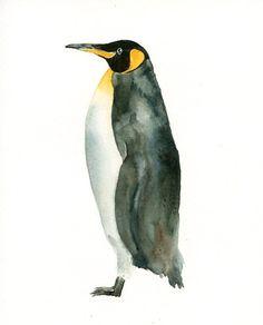 KING PENGUIN Original watercolor painting 8x10inch by dimdi