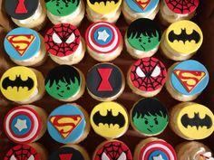 Mini superhero cupcakes.