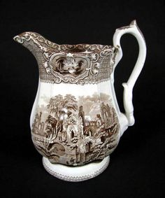Vintage Transferware | Antique English Brown & White Transferware Pitcher In The Abbey ...