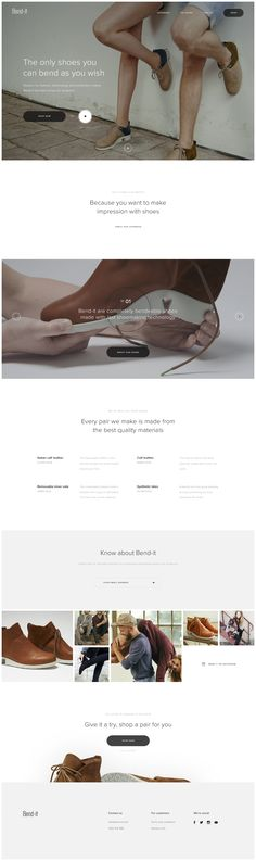 Bend-it shoes homepage by Martin Ehrlich