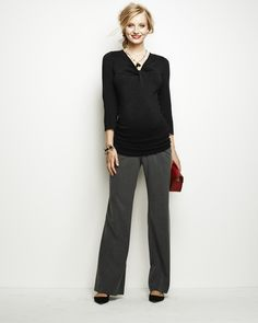 Secret Fit Belly® Bi-stretch Suiting Back Pockets Fit And Flare Maternity Pants