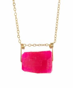 Look what I found on #zulily! Fuchsia Jade Trapezoidal Pendant Necklace #zulilyfinds