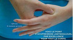 SOURCE SAIN ET NATUREL.COM.......TECHNIQUE : Gardez votre poignet légèrement relâché pour mieux localiser le point dans la dépression et pour le masser. Massez matin et soir, et si nécessaire dans la journée, sur chaque poignet avec le bout de votre pouce (ou de votre doigt) perpendiculaire au point pendant une à deux minutes par pressions circulaires allant de modérées à fortes dans le sens des aiguilles d'une montre.